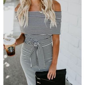 Vici Off shoulder ribbed bodycon dress with tie XS